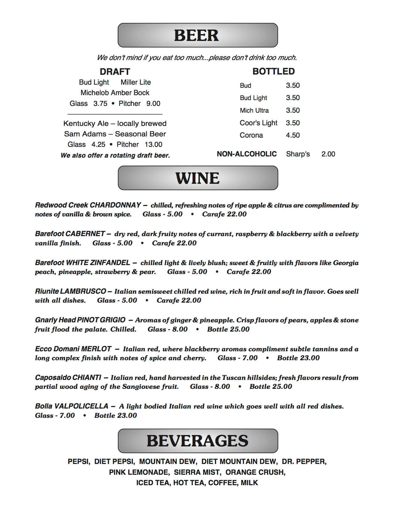 Joe B's menu page 2
