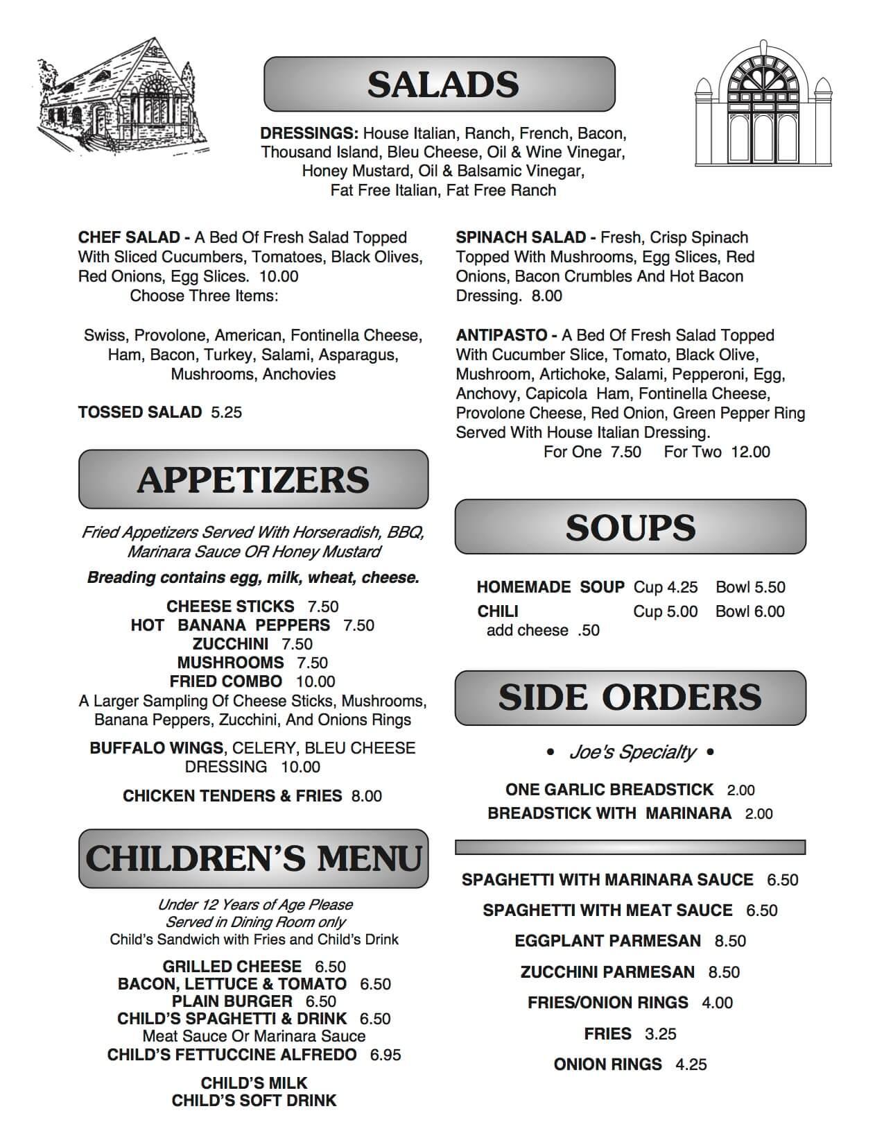Joe B's menu page 3
