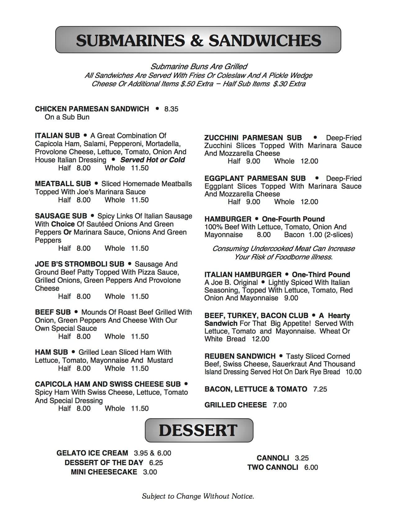 Joe B's menu page 6