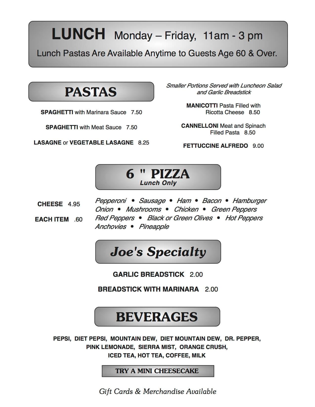 Joe B's menu page 7